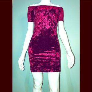 Dresses & Skirts - FOREVER 21 • Crimson Velvet Mini / size (S) NWOT!